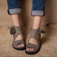 原创品牌手工女鞋个性日系森女凉鞋鱼嘴平底休闲女鞋-淘宝网