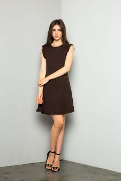 THML | Dark brown A-line dress with fringe hem details.