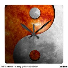 Sun and Moon Yin Yang Square Wall Clock