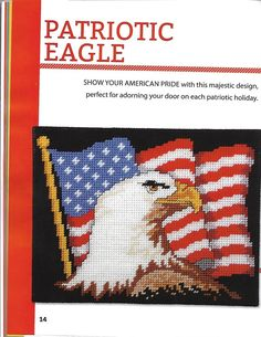Patriotic Eagle * 1/3 Plastic Canvas Books, Plastic Canvas Tissue Boxes, Plastic Canvas Patterns, Cross Stitch Bird, Cross Stitching, Christmas Canvas, Yarn Crafts, Fourth Of July, Memorial Day