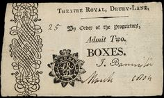 Ticket admitting two to a theatre Box at the Theatre Royal, Drury Lane.