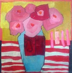 """Still Life Artists International: Contemporary Still Life Art Painting """"Red Stripes"""" by Santa Fe Artist Annie O'Brien Gonzales Stencil Painting, Artist Painting, Painting & Drawing, Floral Texture, Guache, Still Life Art, Arte Floral, Abstract Flowers, Painting Inspiration"""