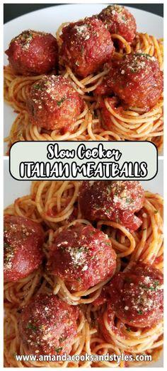 Crockpot Italian Meatballs | Amanda Cooks & Styles Best Beef Recipes, Meatball Recipes, Slow Cooker Recipes, Italian Recipes, Crockpot Recipes, Cooking Recipes, Delicious Recipes, Free Recipes, Homemade Italian Meatballs