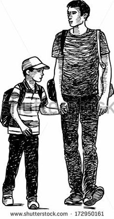 Drawing Human Figure father and son walking - stock vector - Human Figure Sketches, Human Sketch, Male Figure Drawing, Figure Sketching, Figure Drawing Reference, Body Drawing, Life Drawing, Figure Drawings, Drawing Tips