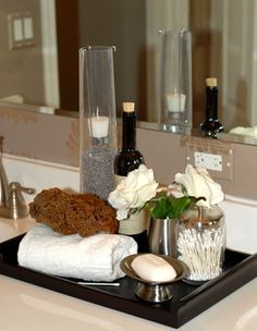 Best and Cheap Spa Like Bathroom Accessories Ideas 11 Diy Vanity Mirror, Diy Bathroom Vanity, Wood Vanity, Vanity Sink, Bathroom Vanity Organization, Spa Bathroom Decor, Bathroom Ideas, Bath Ideas, Bathroom Remodeling