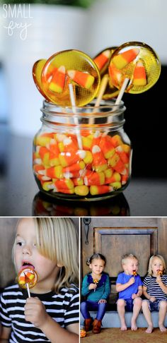 Great activity making homemade candy corn suckers! Easy and fun (Bake Quotes Homemade) Halloween Goodies, Halloween Boo, Halloween Candy, Holidays Halloween, Happy Halloween, Holiday Treats, Holiday Fun, Holiday Recipes, Lollipop Recipe