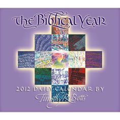"The Biblical Year 2012 Box / PAGE-A-DAY Desk Calendar by The Biblical Year Calendar. $29.96. Format: Box Page-A-Day Size Closed: 5.25"" x  6.5""   Grid Size: X-Large Rectangle Binding: Adhesive Time Span: 365-day combined Publisher: Sellers Publishing, IncNow available as a daily box calendar, these Bible quotes along with the colorful and expressive calligraphic art by Timothy R. Botts will inspire you all through the year."