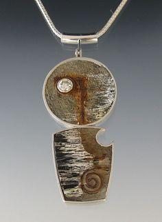 """tommccarthyjewelry Beth's Pendant  Sterling, concrete, steel, diamond, ebony, paint, rust, ink. 3"""" x 1 1/4"""" x 1/4"""" 2008"""