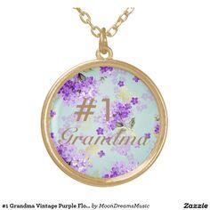 #NumberOneGrandma #VintagePurpleFloral Medium #GoldRoundNecklace by #MoonDreamsDesigns / #MoonDreamsMusic #MothersDayGift for #Grandmas #1 Grandma
