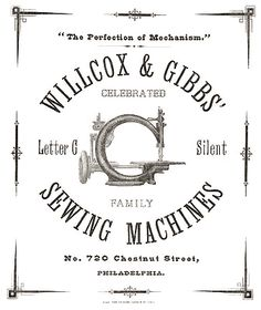 This Willcox & Gibbs advertisement dates from the 1860s. At that time, a pair of glass discs were used to apply thread tension. The well known automatic version appeared some years later.