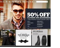 7.	I then recall my friend renting a tuxedo from Men's Wearhouse so I decide to click on their link. Compared to JosABank, the Men's Wearhouse website is colorful and shows a well-dressed young man on the homepage.  Additionally, references to the tuxedo rental service are prominently displayed throughout the page.