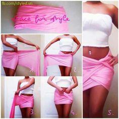 DIY pink wrap twist skirt #skimpy yes
