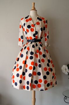 FABULOUS 1950's Silk Polka Dot Print Dress by by xtabayvintage, $348.00
