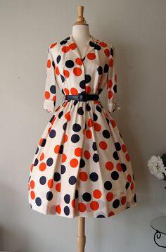 FABULOUS 1950's Silk Polka Dot Print Dress by by xtabayvintage, $348.00