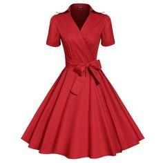 ACEVOG Brand Women Dress Newest Fashion Vintage Tunic Casual Summer Mid Calf Long Swing Dresses For Lady Elegant Clothing PLUS SIZE - Brides & Bridesmaids - Wedding, Bridal, Prom, Formal Gown