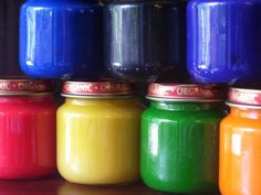 Edible homemade finger paint, can also use food coloring and yoghurt