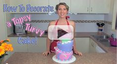 How to Decorate a Topsy Turvy Cake | Video Tutorial | http://angelfoods.net/how-to-decorate-topsy-turvy-cake/