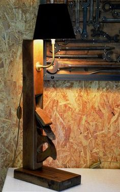 ANTOINE wood plane big vertical lamp with black lampshade grande lampe rabot vertical avec abat jour noir Lampe Steampunk, Wooden Plane, Grande Lampe, Rustic Lighting, Lighting Ideas, Kitchen Lighting, Lighting Design, Pipe Lamp, Unique Lamps