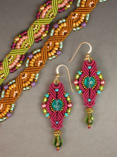 Micro-macrame Rainbow Bracelet and Lantern Earrings