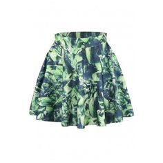 Green Abstract Print Elastic Waist Mini Flared Skirt featuring polyvore women's fashion clothing skirts mini skirts mini skirt mini skater skirt green skirt circle skirt elastic waistband skirt