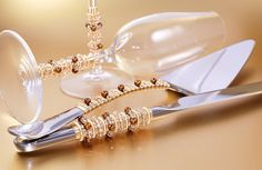Hand Beaded Autumn Wedding Cake Server Set And Matching Crystal Toasting Flutes Wedding Cake Server, Fall Wedding Cakes, Autumn Wedding, Toasting Flutes, Bridal Jewelry, Unique Jewelry, Wire Jewelry, Beaded Crafts, Czech Glass Beads