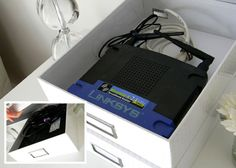 hide router in pretty storage boxes and other tips to cover up clutter