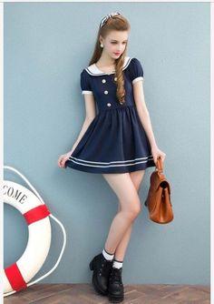 Cicishop New Fashion Clothing Barbie Style Japanese Uniform navy dress M