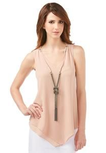 Sheer Layered Necklace Tank-Plus