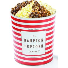 Hampton Popcorn Co. Jumbo 4-Flavor Tin ($33) ❤ liked on Polyvore featuring home, kitchen & dining, food, food and drink and filler