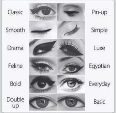 different eyeliner styles, for different eye shapes and eye looks. perfect winged