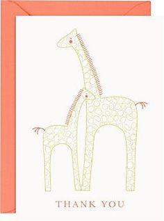 Baby Giraffe 4 Bar Thank You Notes