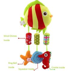 Cartoon Plush Animal musical windbell Baby toddler Stroller Crib rattle mobile infant toy Hanging Toys juguetes bebes owl jouet