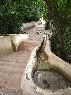 Alhambra: Arabic water stair.  The temperature dropped dramatically on these.