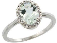 $98.67 USD, Sterling Silver Diamond Halo Green Amethyst Ring by WorldJewels