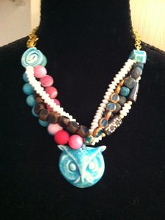 Ceramic beads by Michelle McCarthy, Firefly Design Studio Bead Jewelry, Diy Jewelry, Jewelry Design, Jewelry Making, Owl Necklace, Beaded Necklace, Necklaces, Play Clay, Ceramic Beads