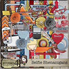 Digital Scrapbooking Studio Selfie Shenanigans - Here's a quirky new kit - SELFIE SHENANIGANS. This kit is designed, but not specifically exclusively for - those fabulous selfies that are popping up everywhere these days. Let's see some of your favourite selfies - with friends, family, or yourself! This kit contains 12 papers and 36 ellies. PU/S4H/S4O.