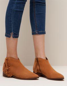 Pull&Bear - mujer - zapatos mujer - botín piel flecos - cuero - 15175011-I2015