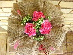 Hot Pink Paper Roses and Burlap  Gift Topper by PackagePresents, $10.00