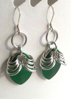 Art Deco Green Scale Earring  Chainmail Rings by RingsAndNeedles