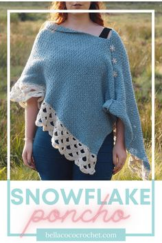 Keep cosy this Winter with a beautiful snowflake-inspired crochet poncho. Let's be honest, we all LOVE a poncho. A wearable blanket with oodles of style - what could be better? This beautiful Snowflake Poncho by guest designer Love Aly will have you swishing around like Elsa when the temperature drops. You'll never want to Let It Go ;) Modern Crochet Patterns, Crochet Poncho Patterns, Cardigan Pattern, Crochet Designs, Crochet Cape, Free Crochet, Capes & Ponchos, Yarn Inspiration, Wearable Blanket