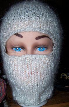 Mohair Balaclava Hat White Ski Mask Helmet Fuzzy by NovaBlondie