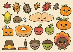 Premium Vector Clipart Kawaii Thanksgiving by LookLookPrettyPaper Kawaii Drawings, Cute Drawings, Thanksgiving Drawings, Thanksgiving Food, Griffonnages Kawaii, Sketch Note, Kawaii Doodles, Vector Clipart, Food Clipart