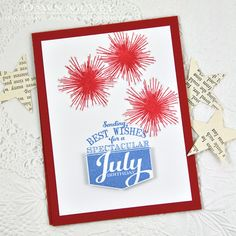 Spectacular July Birthday Card by Dawn McVey for Papertrey Ink (June 2014)