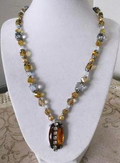 """Honey & Diamonds"" necklace & earrings set  $28"