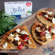 Quick and easy #WineWednesday Tip!   Add a few dollops of Greek Cream Cheese to your favorite flatbread or pizza for a delicious and healthy boost of flavor! Enjoy
