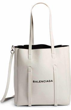 Balenciaga Small Everyday Logo Calfskin tote sharp logo against buttery-soft calfskin leather,