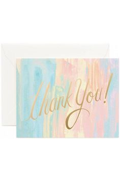 """When you want to express gratitude for a kind act or a thoughtful gift, these Thank You note cards from Rifle Paper Company are terrific. With the fabulous Watercolor design, this card expresses gratitude is chic style. The """"thank you!"""" is printed in a gold foil for an extra special touch.The set includes eight cards with envelopes, and these are the A2 format, so each card is 4.25"""" by 5.5"""". The interior is blank.   Watercolor Thank Yous by Rifle Paper Company. Home & Gifts - Gifts…"""