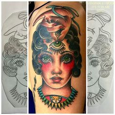 Lady Head tattoo by @virginiaelwood at @saved_tattoo in Brooklyn NY #virginiaelwood #savedtattoo #brooklyn #newyork #itsforme#ladyheadtattoo #thirdeyetattoo #tattoo #tattoos #tattoosnob