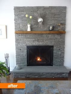 Grey stone fireplace wall before after fairy tale fireplace makeover apartment therapy grey stone fireplace decor Grey Stone Fireplace, Painted Brick Fireplaces, Fireplace Update, Paint Fireplace, Brick Fireplace Makeover, Home Fireplace, Fireplace Remodel, Fireplace Design, Farmhouse Fireplace