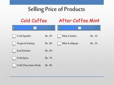 Selling Price of Products Cold Coffee Cold Sparkle Rs. Cafe Business Plan, Sample Business Plan, Business Planning, Executive Summary, Lychee Soda, Unique Selling Proposition, Garden Coffee, Guerilla Marketing, Making Life Easier